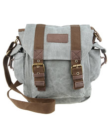 BlackChilli Double Buckled Canvas Messenger Grey