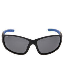 BondiBlu Matt Touch Wrap Polarised Sunglasses Black