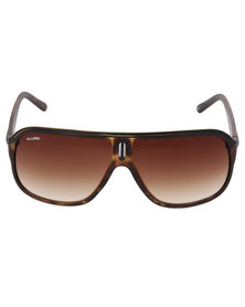 BondiBlu Tortoise Metal Bar Square Sunglasses Brown
