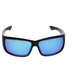 BondiBlu Mirror Wrap Rectangular Triple Lense Polarised Sunglasses Black