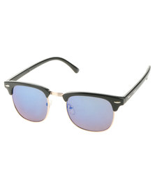 BondiBlu Colour Lens Clubmaster Sunglasses Blue With Free Gift