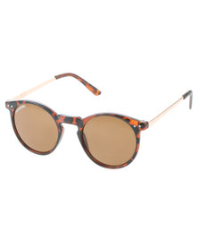 BondiBlu Metal Arm Tortoise Round Sunglasses Brown With Free Gift