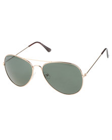 Bondiblu Metal Frame Aviator Sunglasses Gold