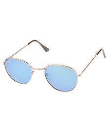 BONDIBLU COLOUR LENS ROUND SUNGLASSES SILVER/BLUE