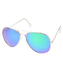 Bondiblu Colour Lens Aviator Sunglasses Blue/Green With Free Gift