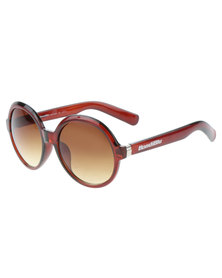 Bondiblu Oversized Frame Round Sunglasses Brown