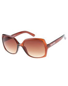 Oversized Frame Gradient Lens Sunglasses Brown