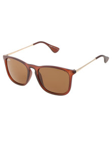 BondiBlu Metal Arm Sunglasses Brown