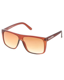 BondiBlu Colour Block Arm Wayfarer Sunglasses Brown/Red With Free Gift