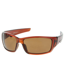Bondiblu Opaque Frame Wrap Around Sunglasses Brown