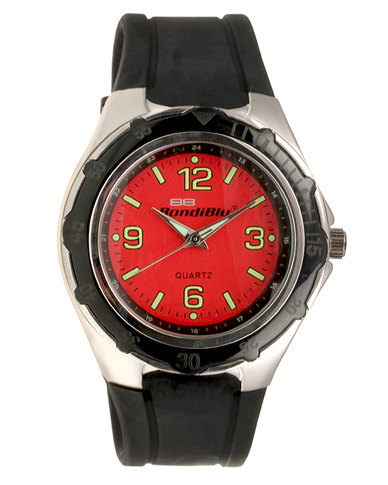 BondiBlu Analogue Watch Black Red