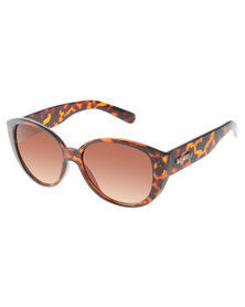 BONDIBLU LARGE TORT CATS-EYE SUNGLASSES BROWN