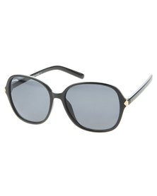Bondiblu Metal Trim Oversized Square Sunglasses Black