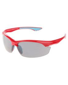 BondiBlu Half Frame Wrap Around Sunglasses Red
