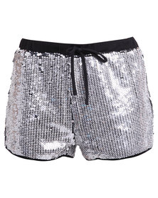 Brett Robson Sequin Shorts Silver