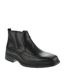 Bronx Men Slot Leather Slip-On Boots Black