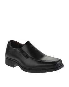 Bronx Men Slot Leather Slip-On Shoes Black