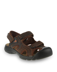 Bronx Men Congo Leather Sandals Brown