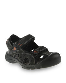 Bronx Men Congo Leather Sandals Black