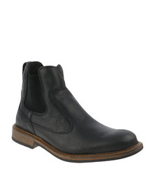 Bronx Men Jump Gusset Leather Boots Black