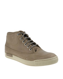 Bronx Men Combat Leather Boots Taupe