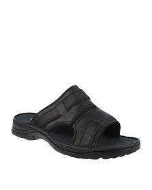 Bronx Men Clifton Chunky Nubuck Slip On Sandal Black