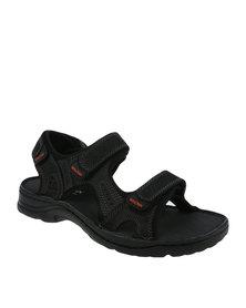 Bronx Men Clifton Leather Multi Strap Sandal Black