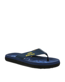 Bronx Men Beach Canvas Toe Thong Sandal Navy