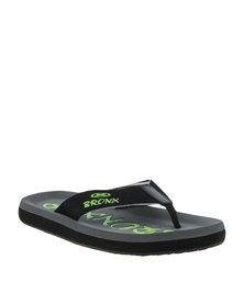 Bronx Men Beach Canvas Toe Thong Sandal Grey