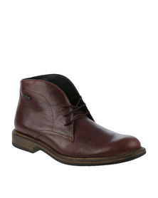 Bronx Men Jump Tan Leather Lace Up Boot with Contrast Stitching Detail
