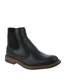 Bronx Men Jump Black Leather Slip on Boot