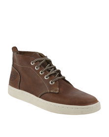 Bronx Men Subway Leather Casual High Top Lace Up Shoe Taupe