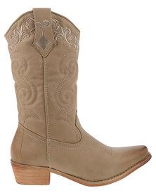 Bronx Women Westee Cowboy Boots Tan