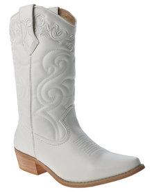 Bronx Women Westee Cowboy Boots White