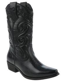 Bronx Women Westee Cowboy Boots Black