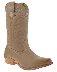 Bronx Women Westee Cowboy Boots Nude