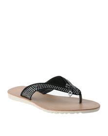 Bronx Woman Anette Flat Thong Sandal Black