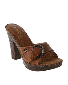 Bronx Woman Reine Block Heel Slip on Sandal Tan