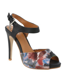 Bronx Woman Lisette Printed High Heel With Ankle Strap Black