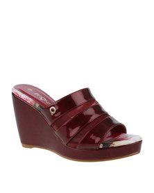 Bronx Woman Emmet Slip On Wedge Sandal Red