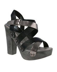 Bronx Woman Monique Chunky Block Platform Heel Black