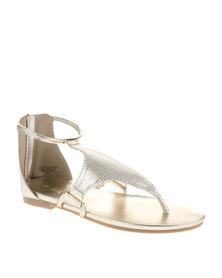 Bronx Women  Alanis Snakeskin Sandals Gold