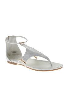 Bronx Women Alanis Snakeskin Sandals White
