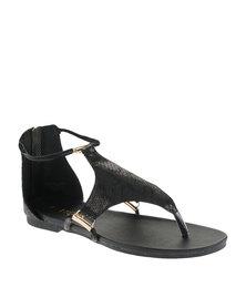 Bronx Women Alanis Snakeskin Sandals Black