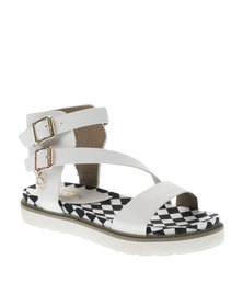 Bronx Women Lucia Checkered Sandals White