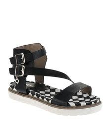 Bronx Women Lucia Checkered Sandals Black