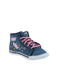 Bubblegummers Girls High Top Lace Up Heart with Wings Blue