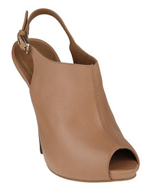 Buffalo Peep-Toe Heels Tan