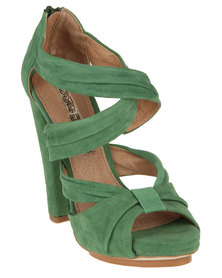 Buffalo Suede Heeled Sandals Green