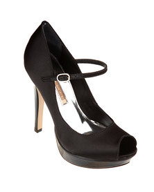Buffalo Satin Peep-Toe Platforms Black